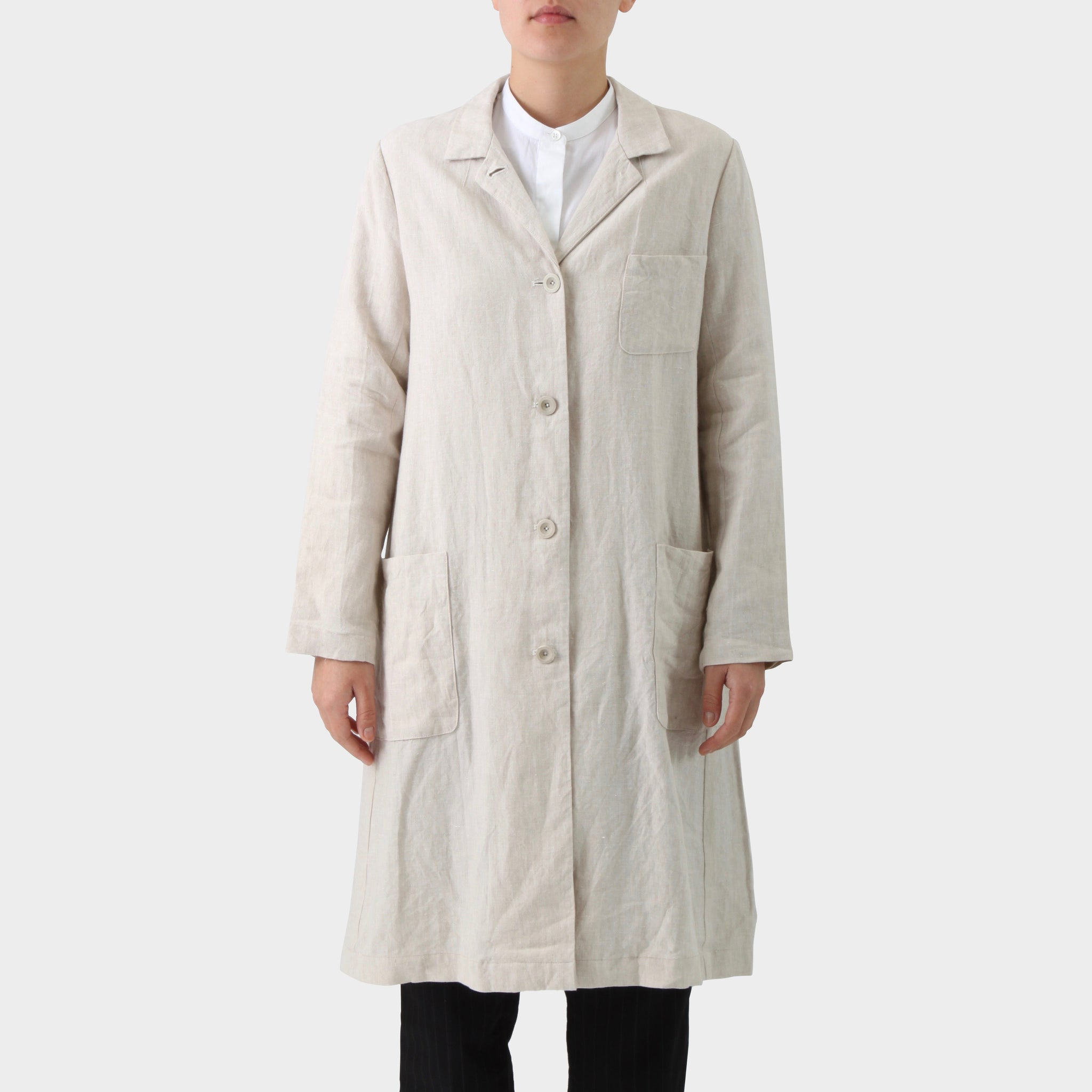 Samuel Snider Beige Linen Button Down Longline Coat