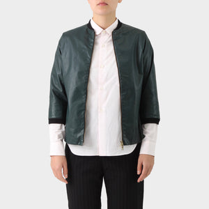 Marni Green Leather Zip Front ½ Slv Jacket