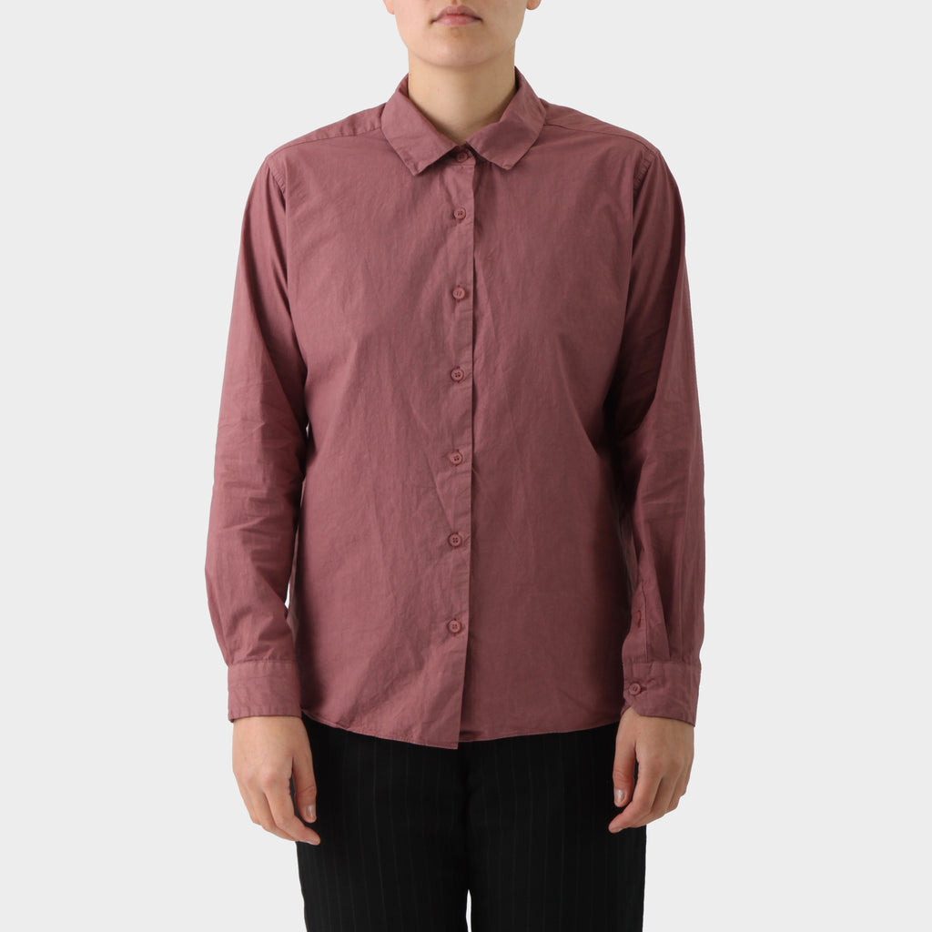 Casey Casey Dusty Red Cotton Button Down Shirt.