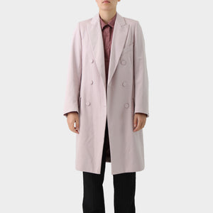Dries Van Noten Pale Pink Double Breasted Cotton Coat
