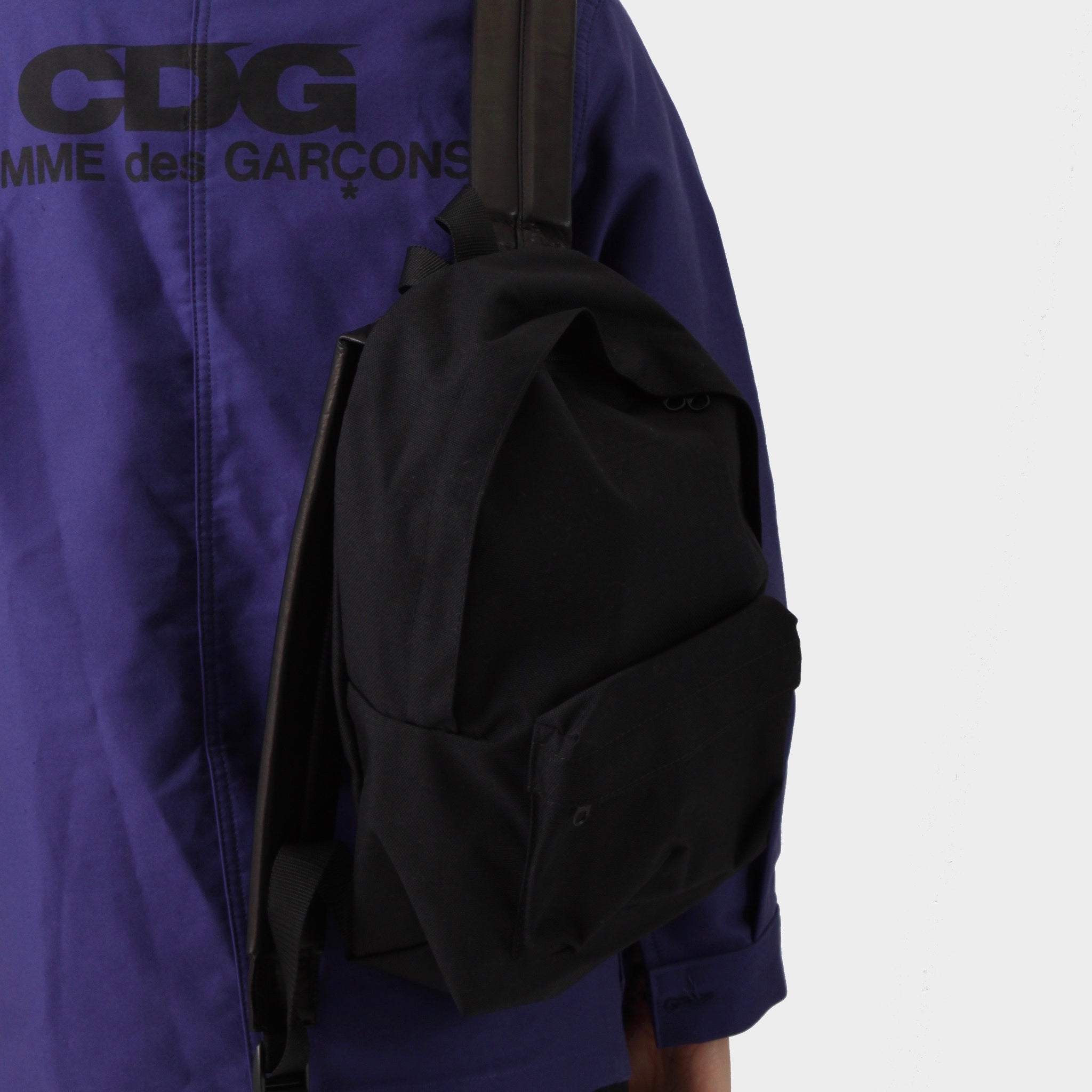 Comme des Garçons Black Nylon Body Backpack W/ Leather Strap