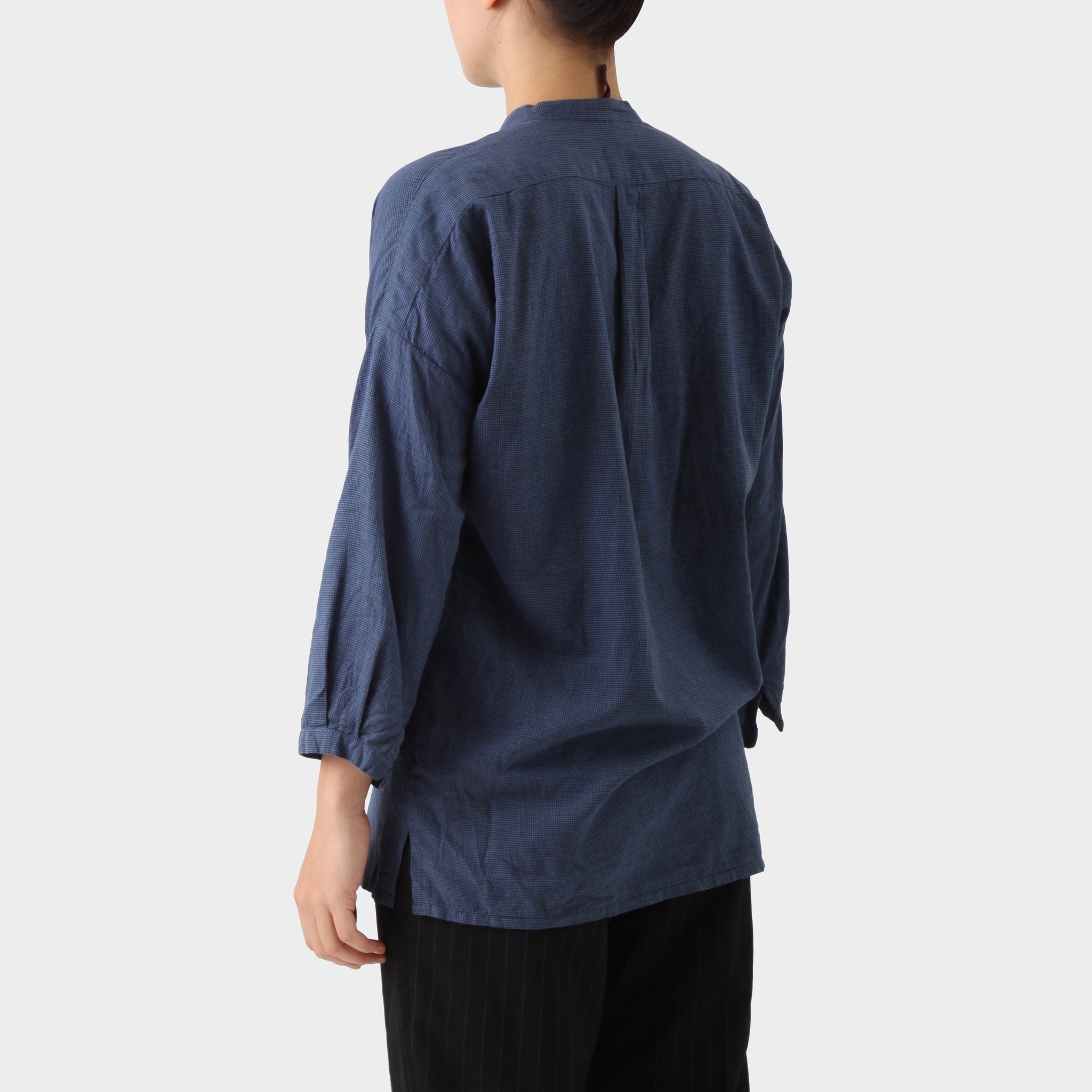 Daniela Gregis Navy Black Cotton Collarless Shirt