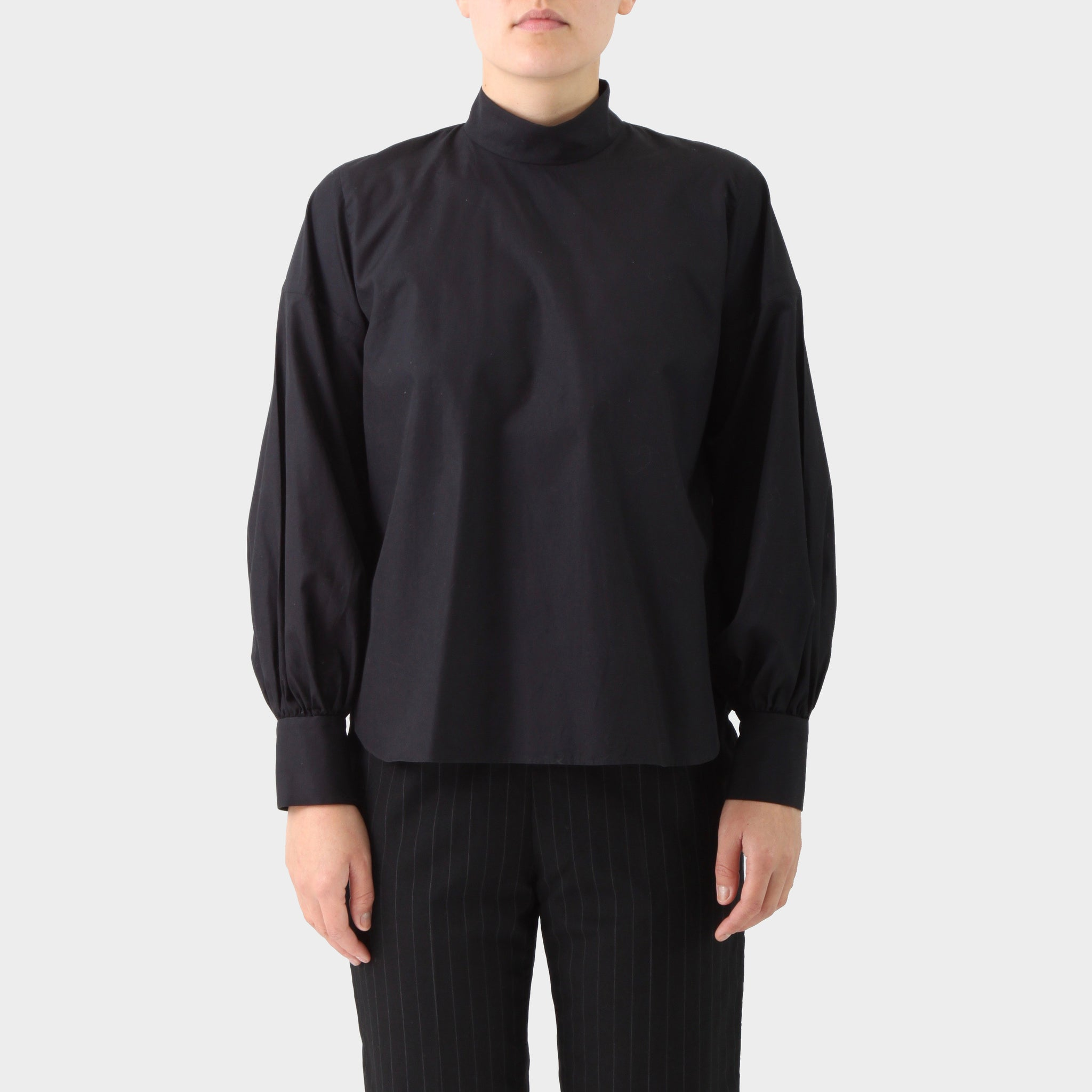 Noir Kei Ninomiya Black Mock Neck Tunic Top
