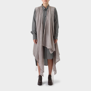 Marc Le Bihan Grey Pink Silk Draped Vest