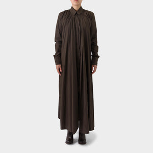Marc Le Bihan Brown Cotton Long Shirt Dress