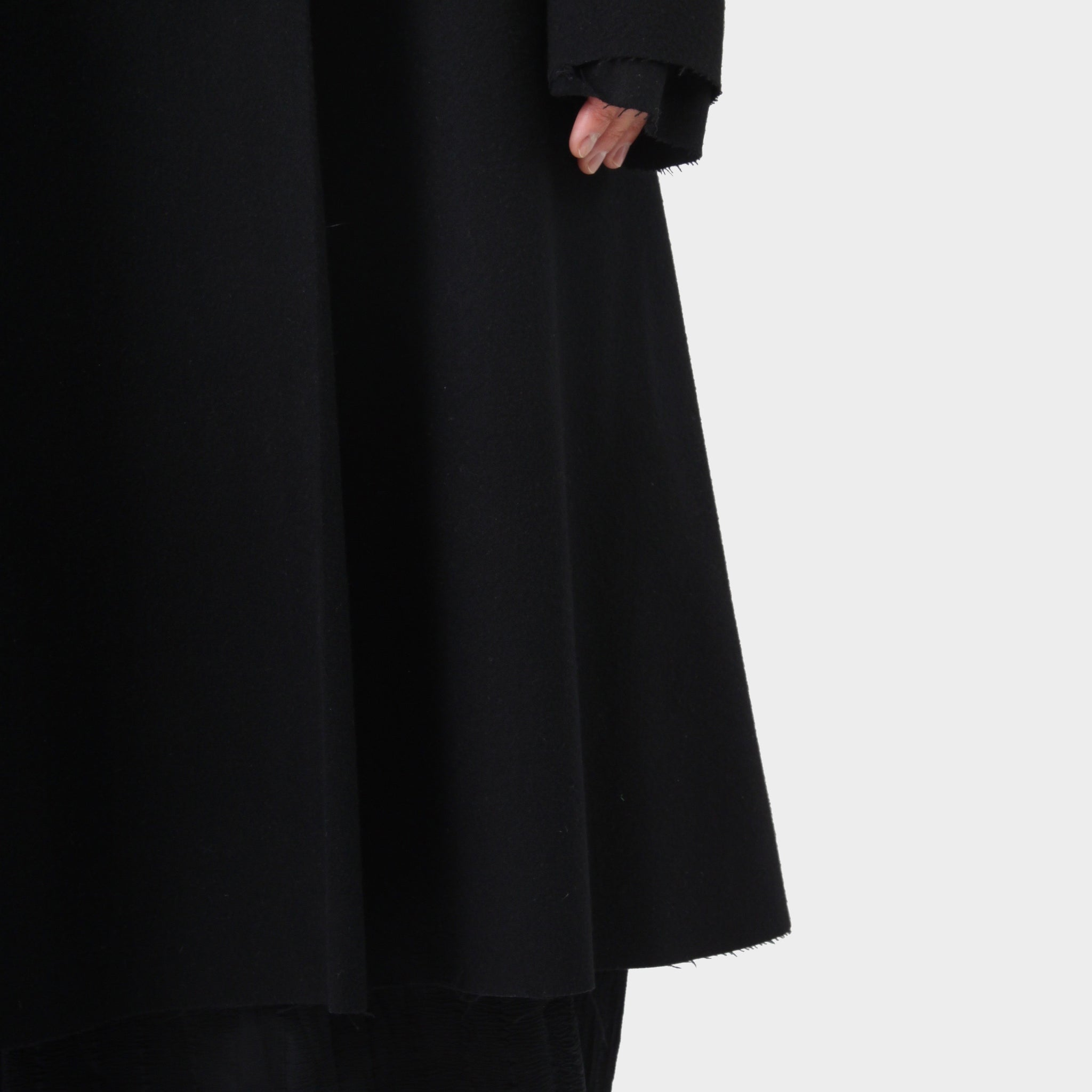 MA+ Notched Lapel Melton Wool Long Coat