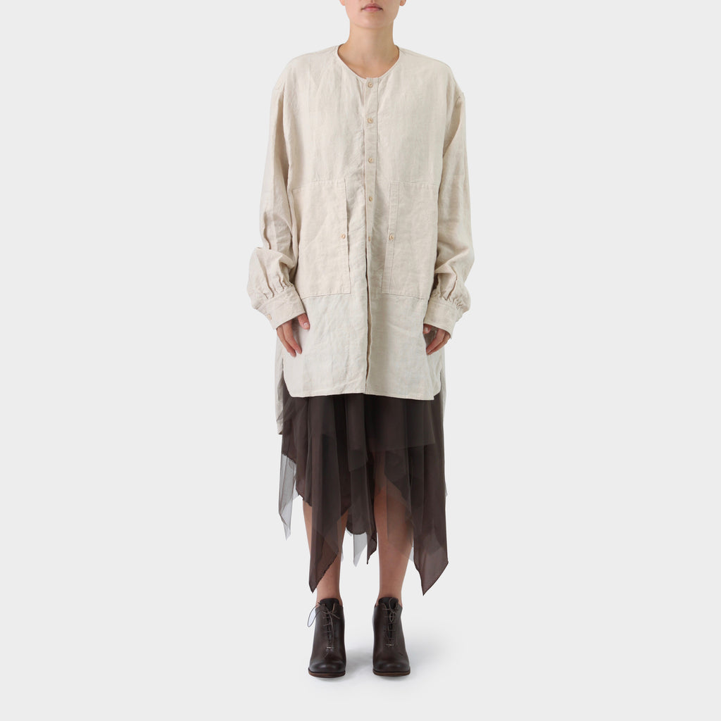 Samuel Snider Stone Linen Collarless Shirt Dress