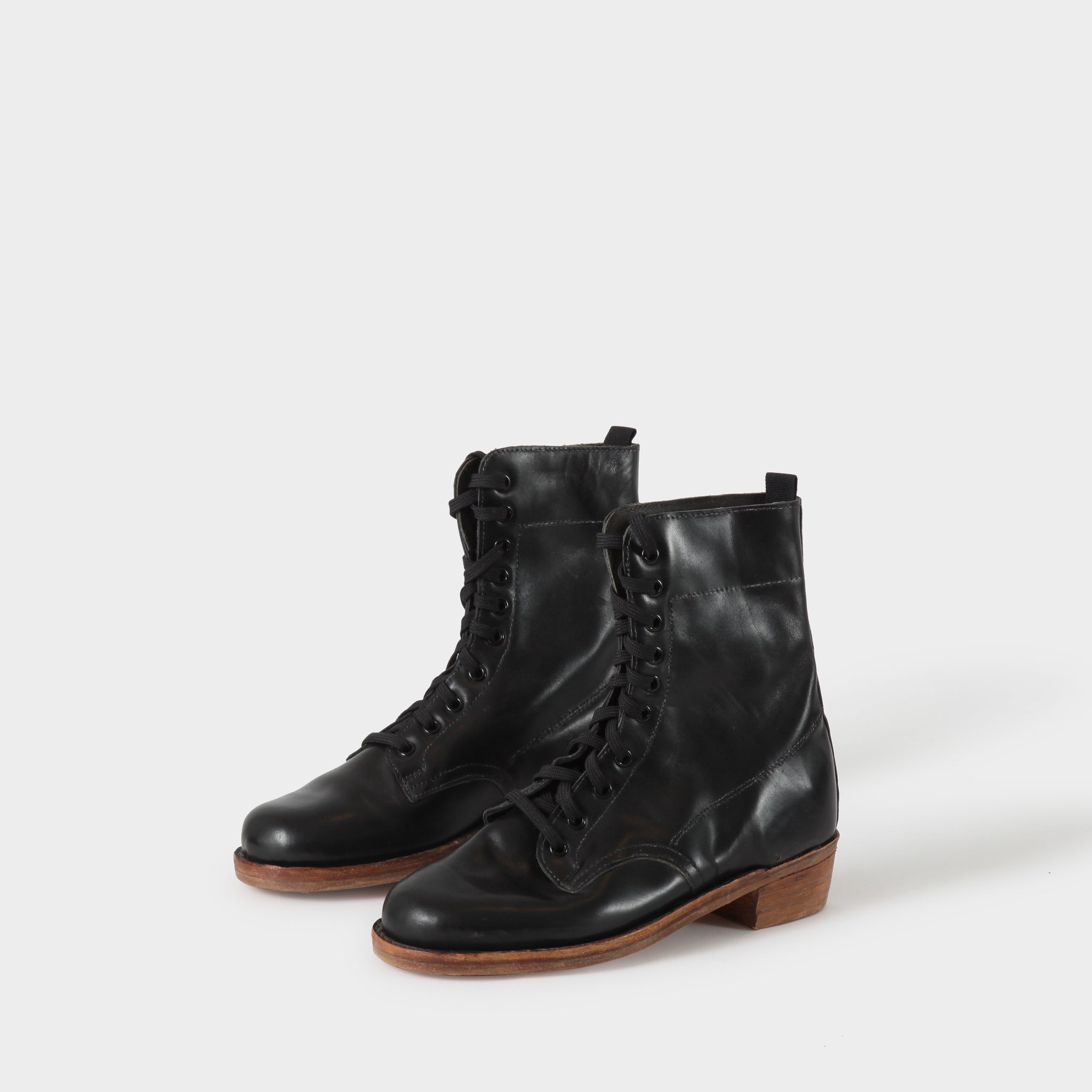 Geoffrey B Small Handmade Black Leather 10-hole Boots