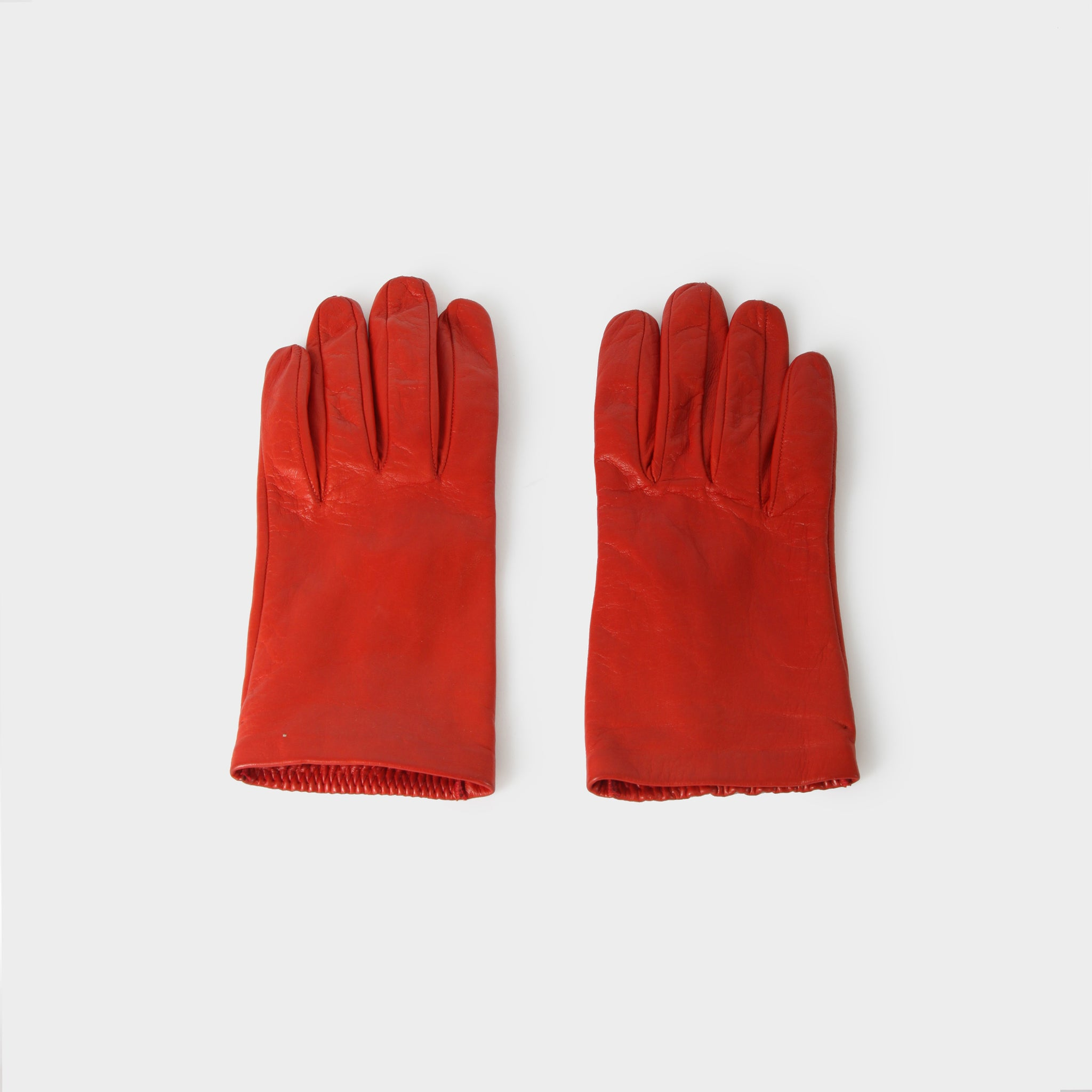 Dries van Noten Red Leather Gloves