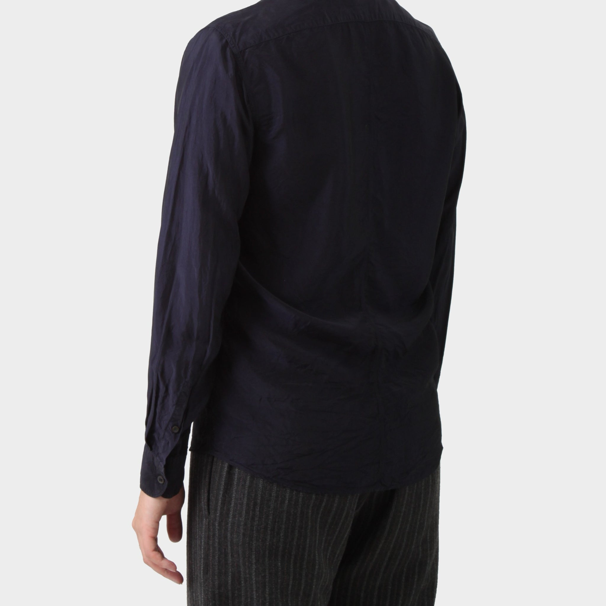 Dries van Noten Navy Cupro Shirt
