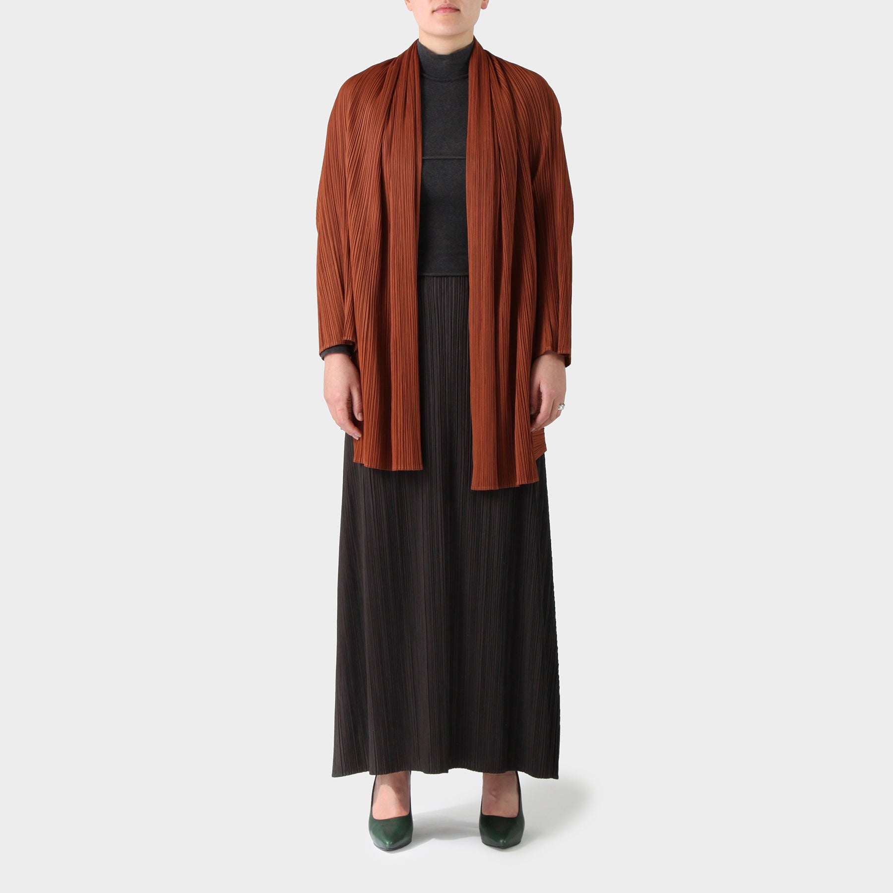 Pleats Please Rusty Polyester Draped Jacket