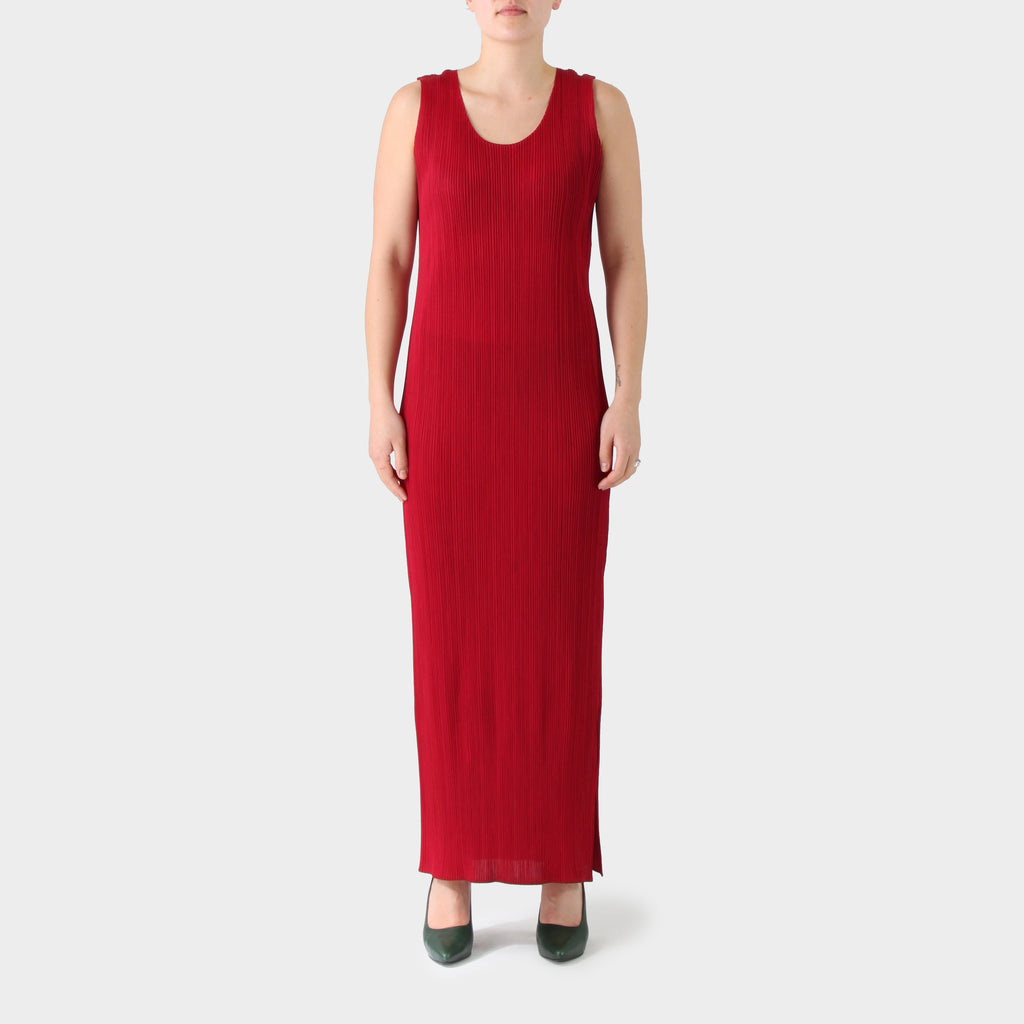 Pleats Please Scarlet Sleeveless Long Dress