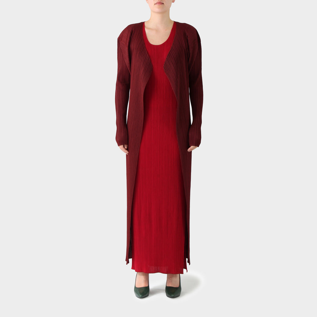 Pleats Please Burgundy Open Long Jacket