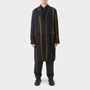 Uma Wang Woven Striped Woven Insert Chester Coat