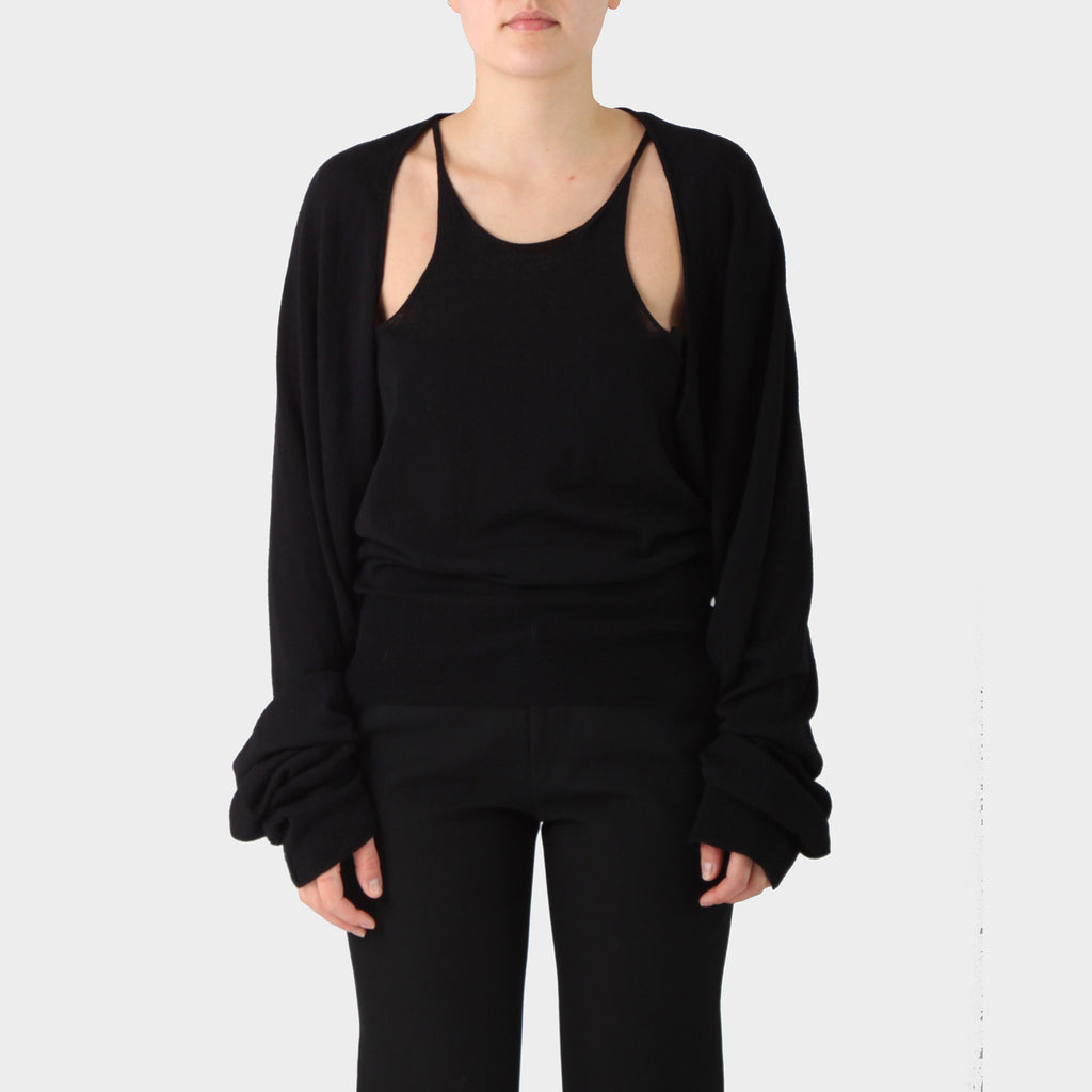 Haider Ackermann Black Wool Deconstructed Top