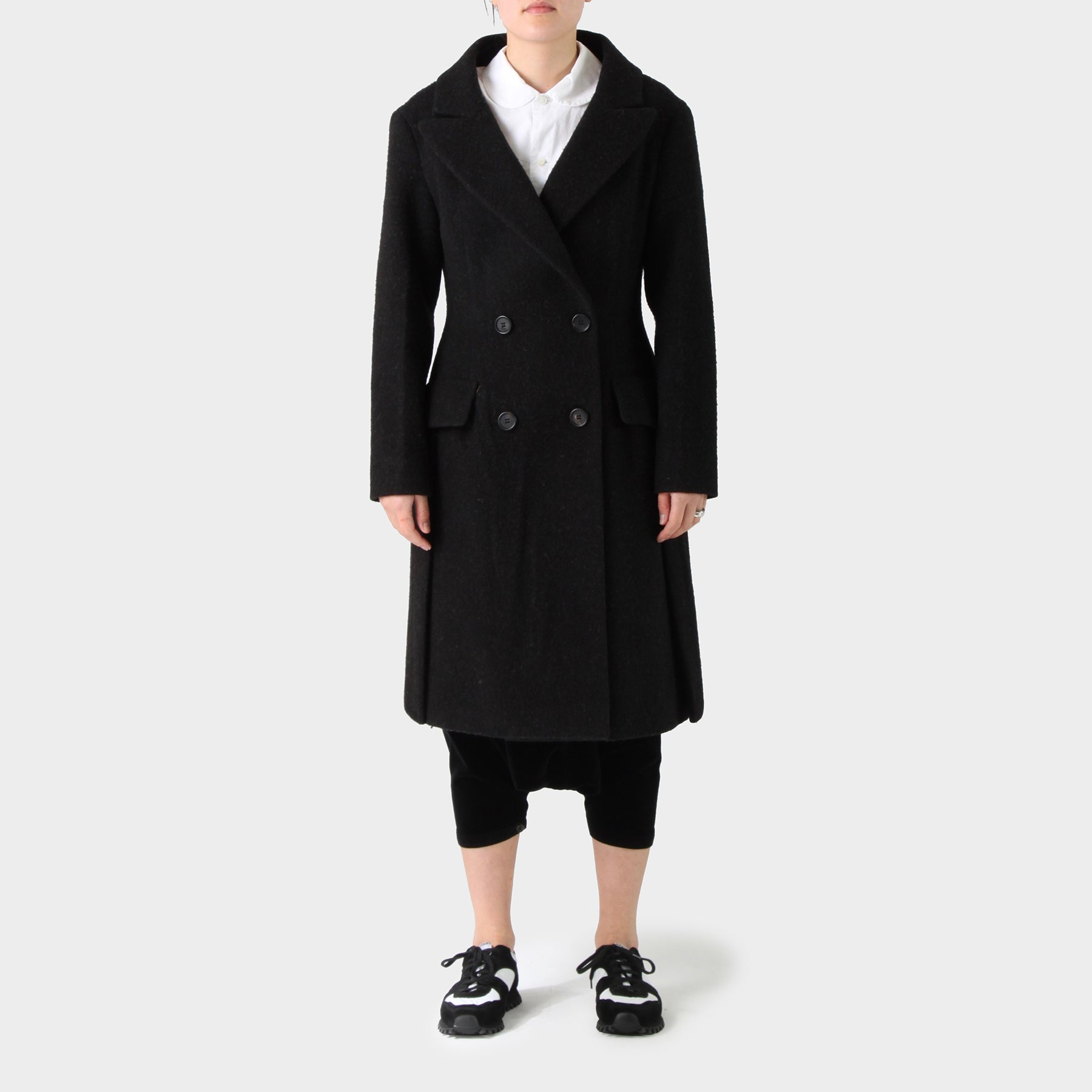 Prada Wool Double Breasted Peak Lapel Long Coat