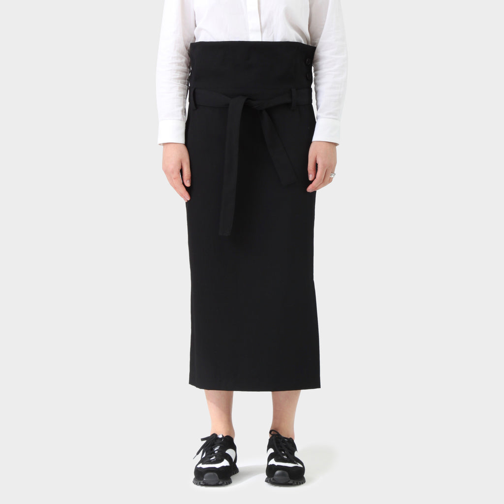 Y's Yohji Yamamoto Black Wool Gabardine Paper Bag Self Belted Skirt