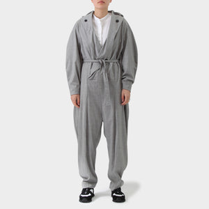 Henrik Vibskov Grey Wool Shawl Collar Jumpsuit