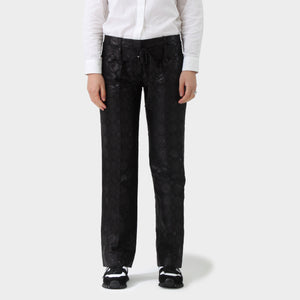 Prada Black Damasque Woven Straight Leg Pant
