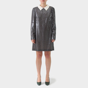 Prada Sequinned Plaid Printed Sequin Dress
