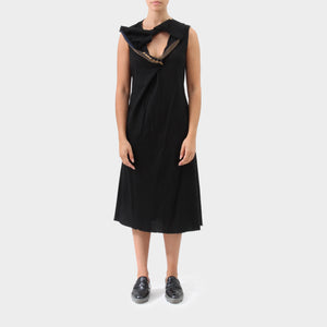Junya Watanabe Sleeveless Draped Cotton Dress wth Layered Zip Detail