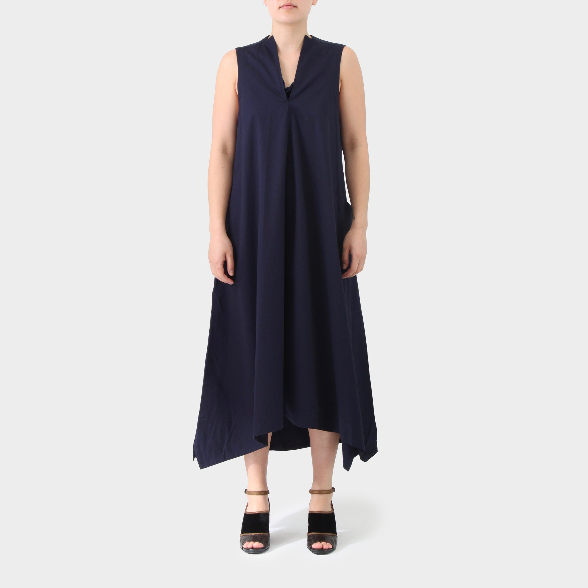 Y's A-line Cotton Sleeveless Tunic Dress