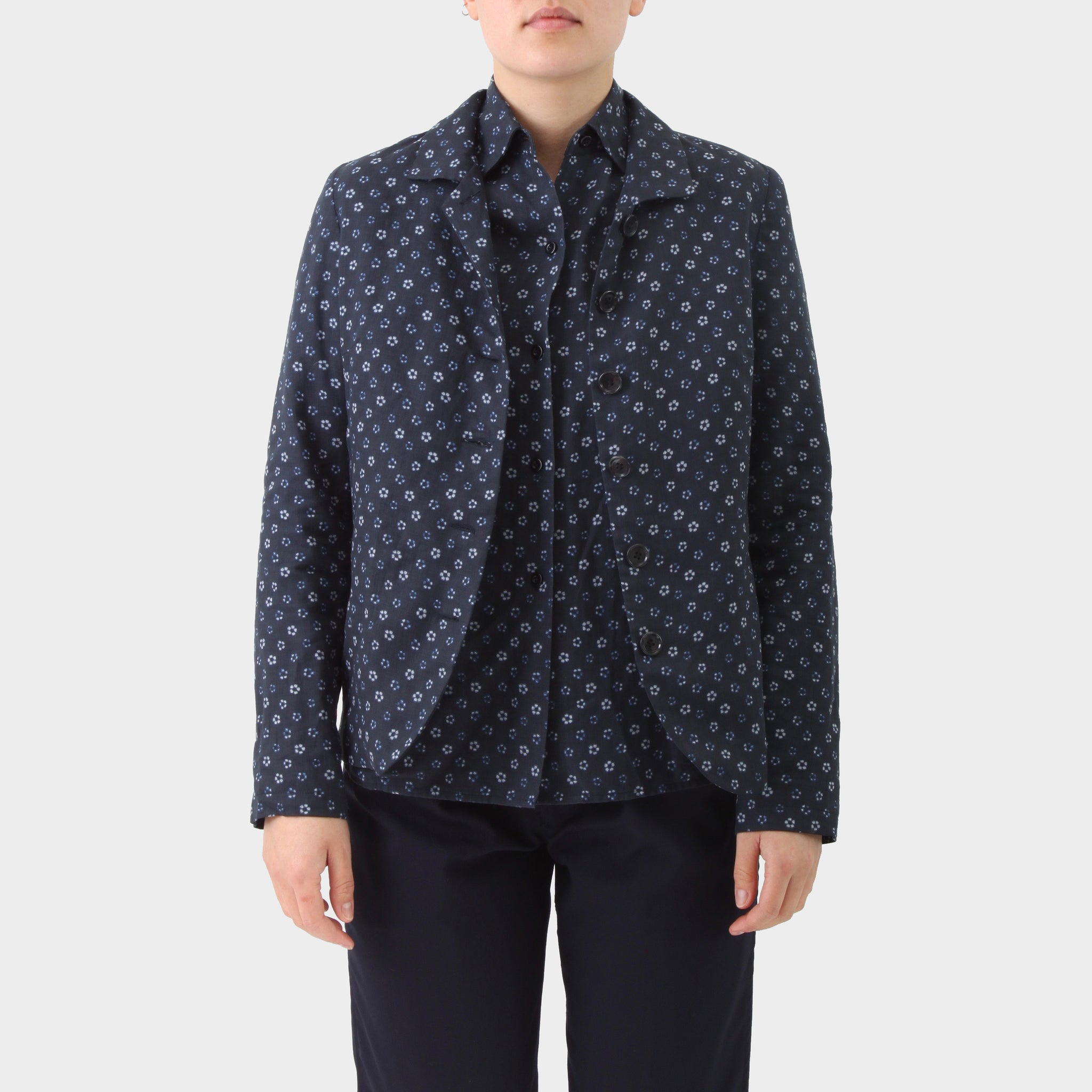 Casey Casey Patterned Open Collar Blazer