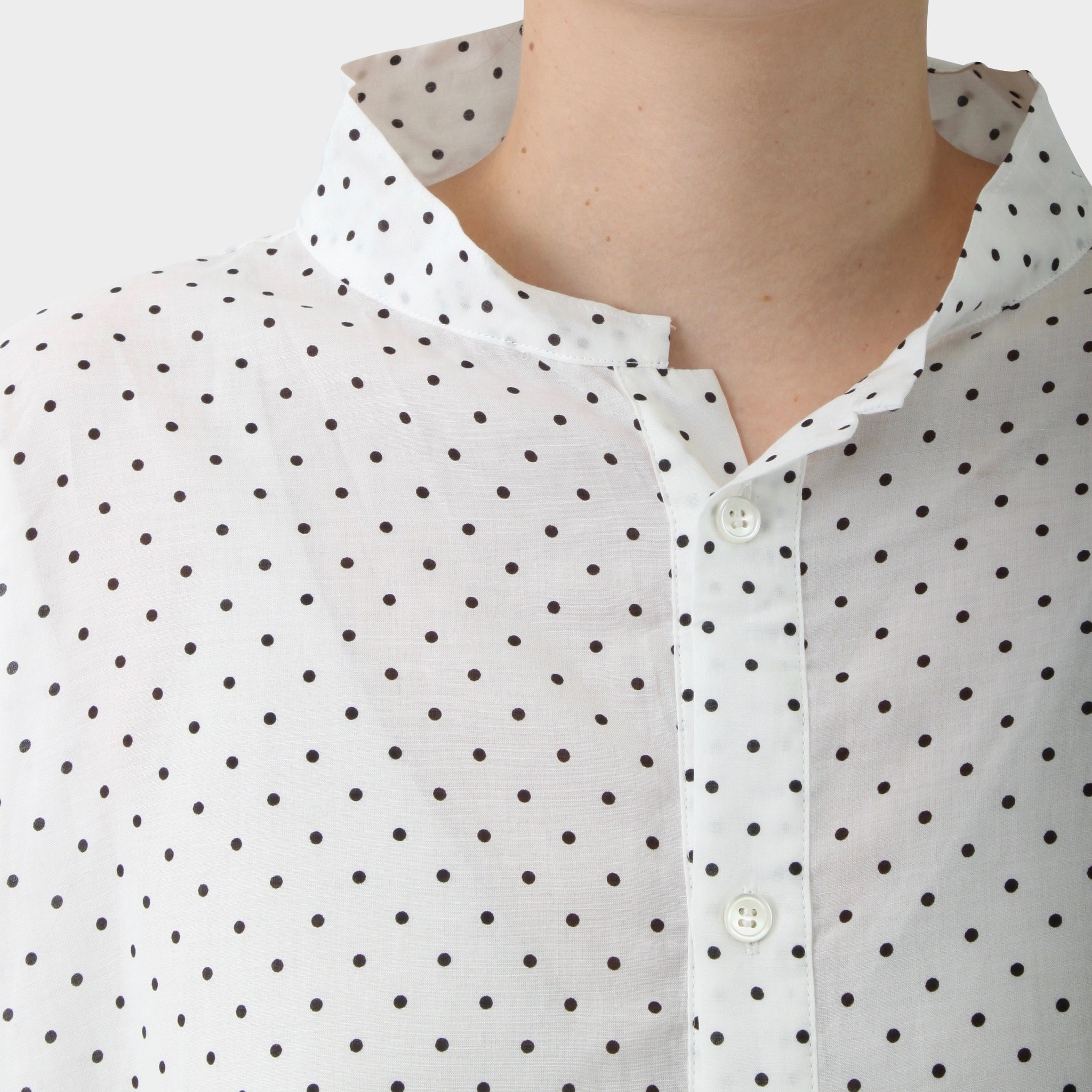 Y's Exclusive Printed Polka Dot Stand Collar Tunic