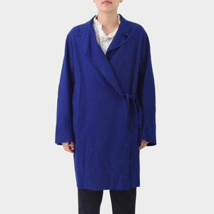 Acne Studios Ultramarine Wool Cashmere Raw Edged Coat