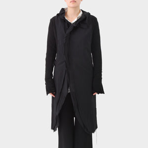 Rundholz Panelled Long Jacket with Knitted Sleeves