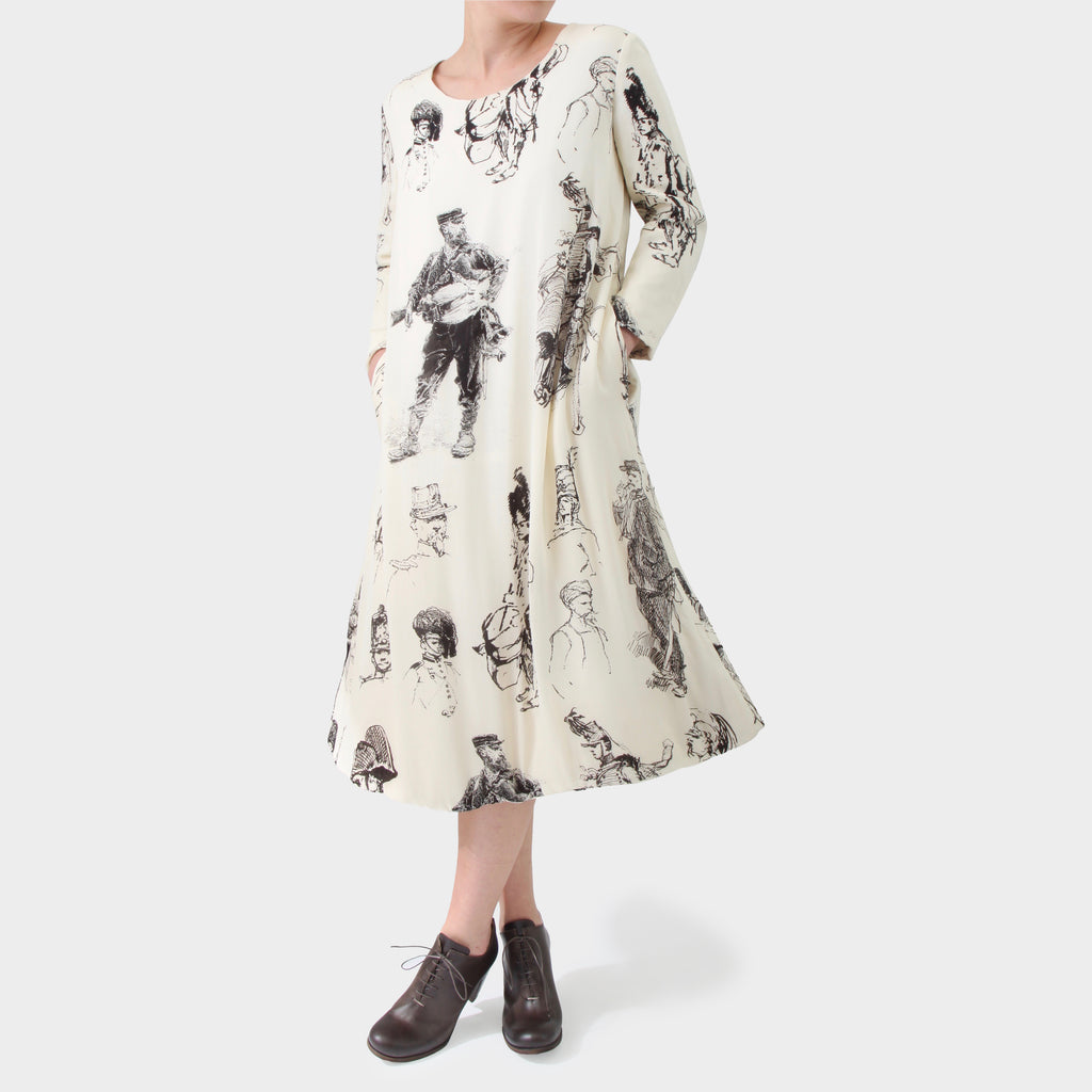 PAUL HARNDEN 'MILITAIRE' SKETCH PRINT DAVENTRY DRESS