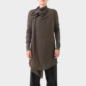 Rick Owens Dark Dust Silk Jacket with Jersey Sleeves