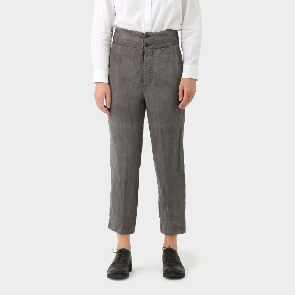 Samuel Snider Grey Linen Cinch Back Trouser
