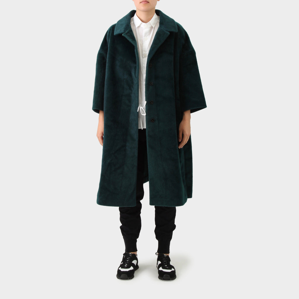 Jil Sander Emerald Green Faux Fur Oversized Cocoon Coat