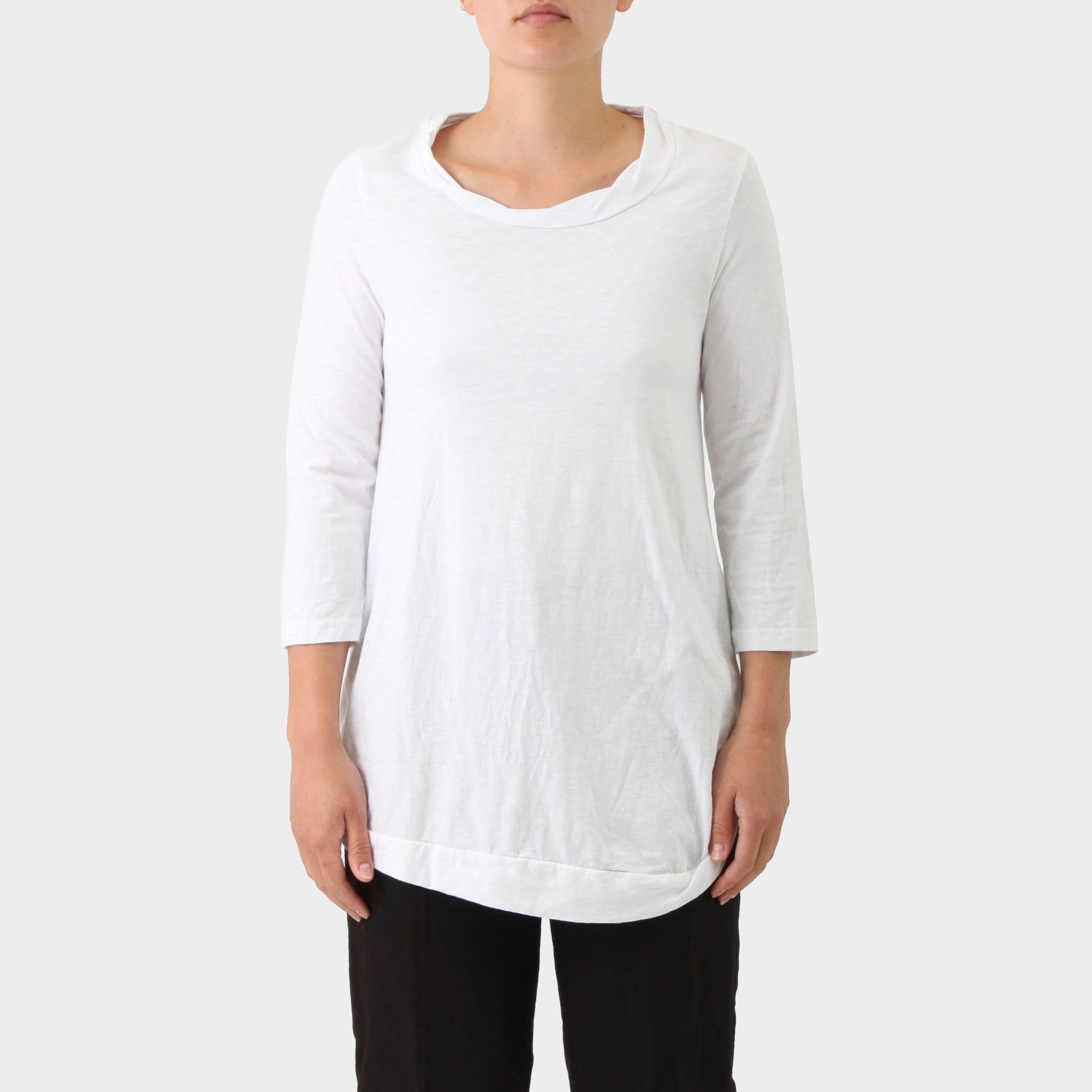 Rundholz Blk White Cotton 3/4 Sleeve T-shirt