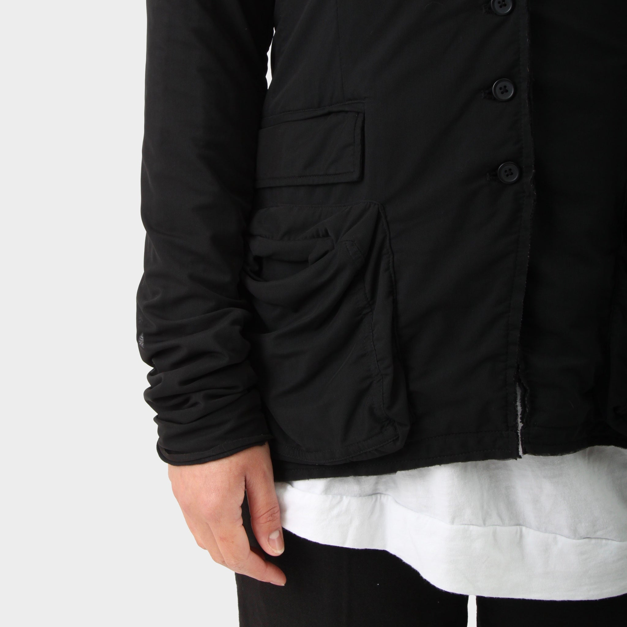 Rundholz Blk Mesh Layered Button Front Jacket