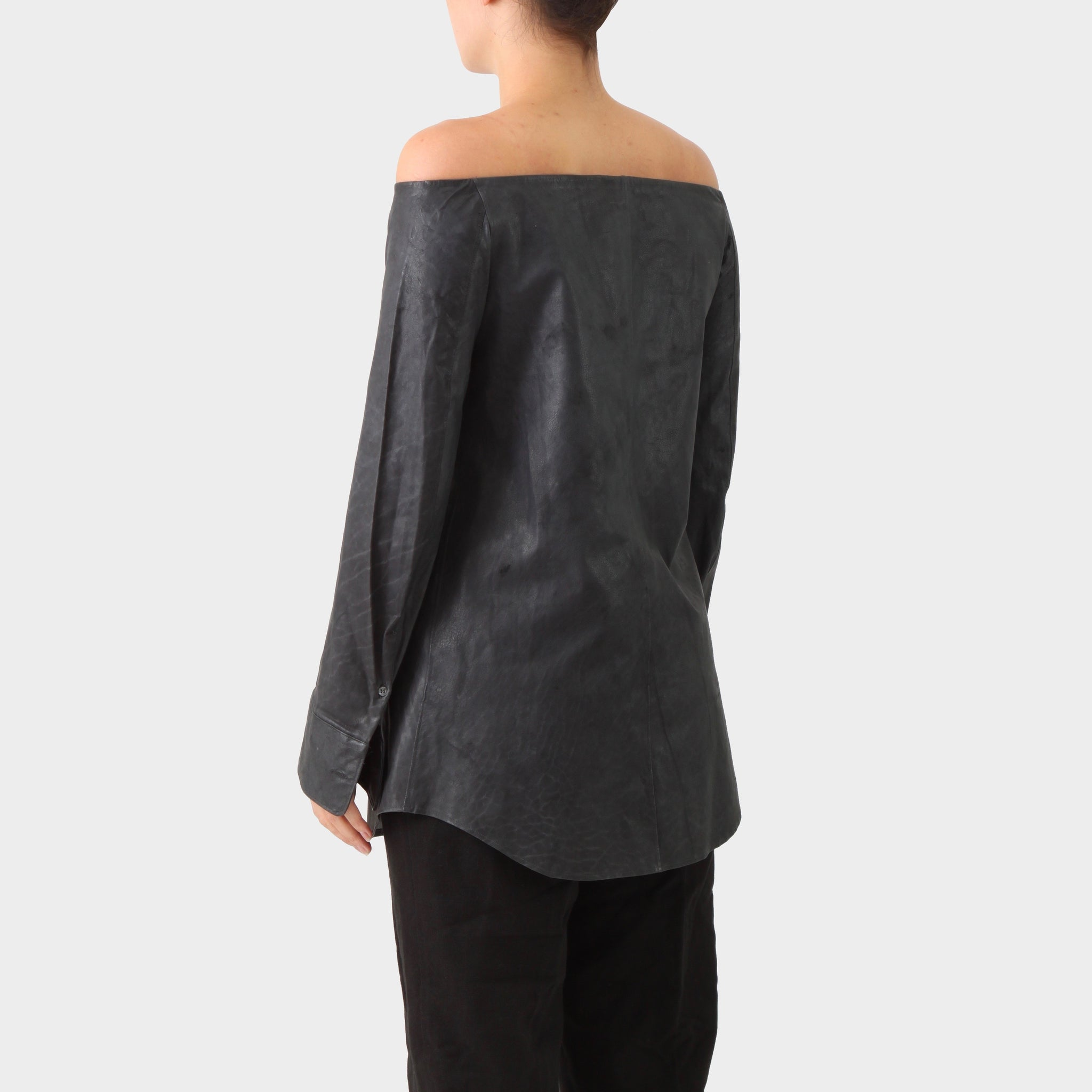 Carol Christian Poell Off Shoulder Object Dyed Leather Blouse