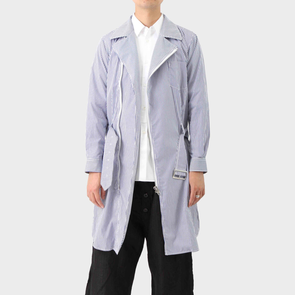 Comme des Garçons SHIRT Striped Shirting Cotton Trench Coat