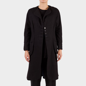 Elena Dawson Black Wool Collarless Coat
