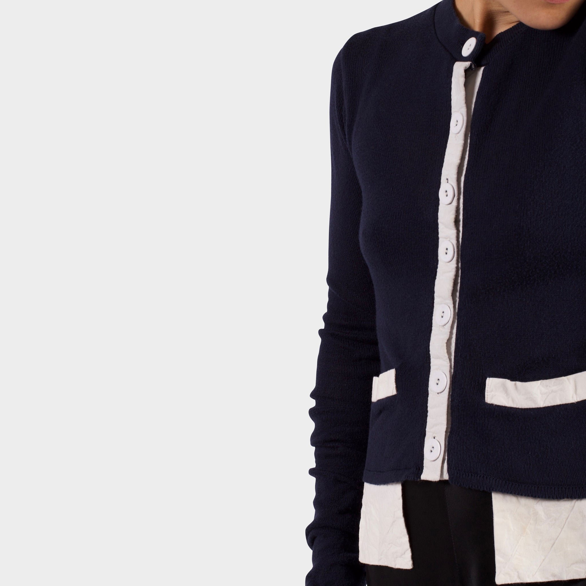 Paul Harnden Navy Knitted Cardigan