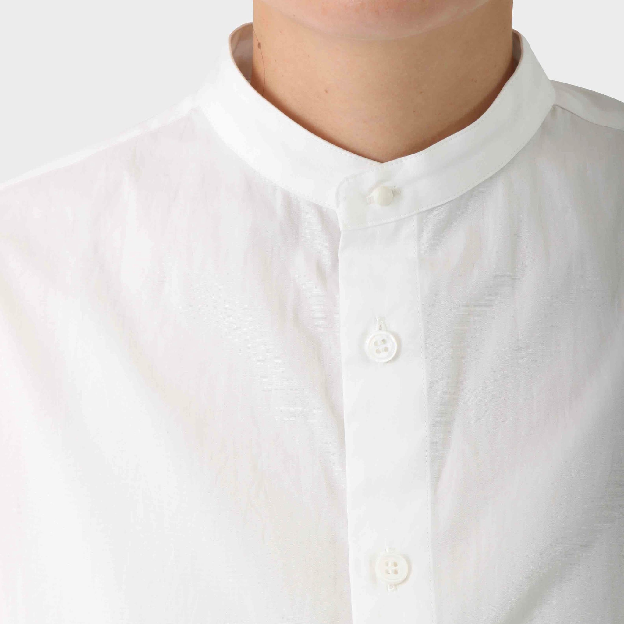 Y's Banded Collar Cotton Long Shirt