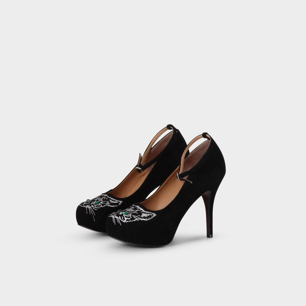 Undercover Black Suede Cat Stiletto