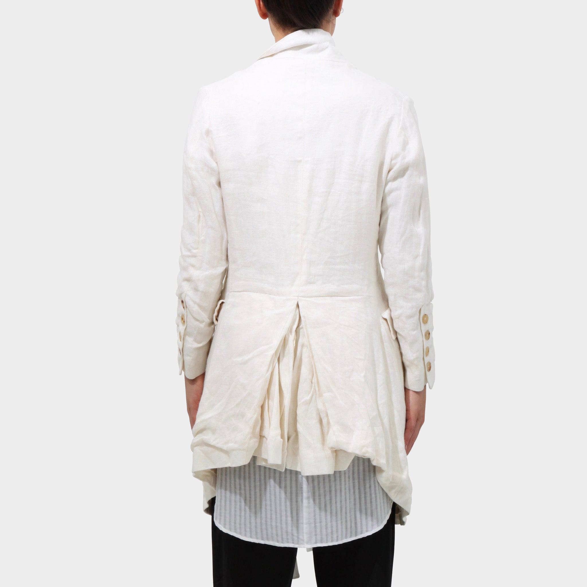 Paul Harnden White linen bustle coat