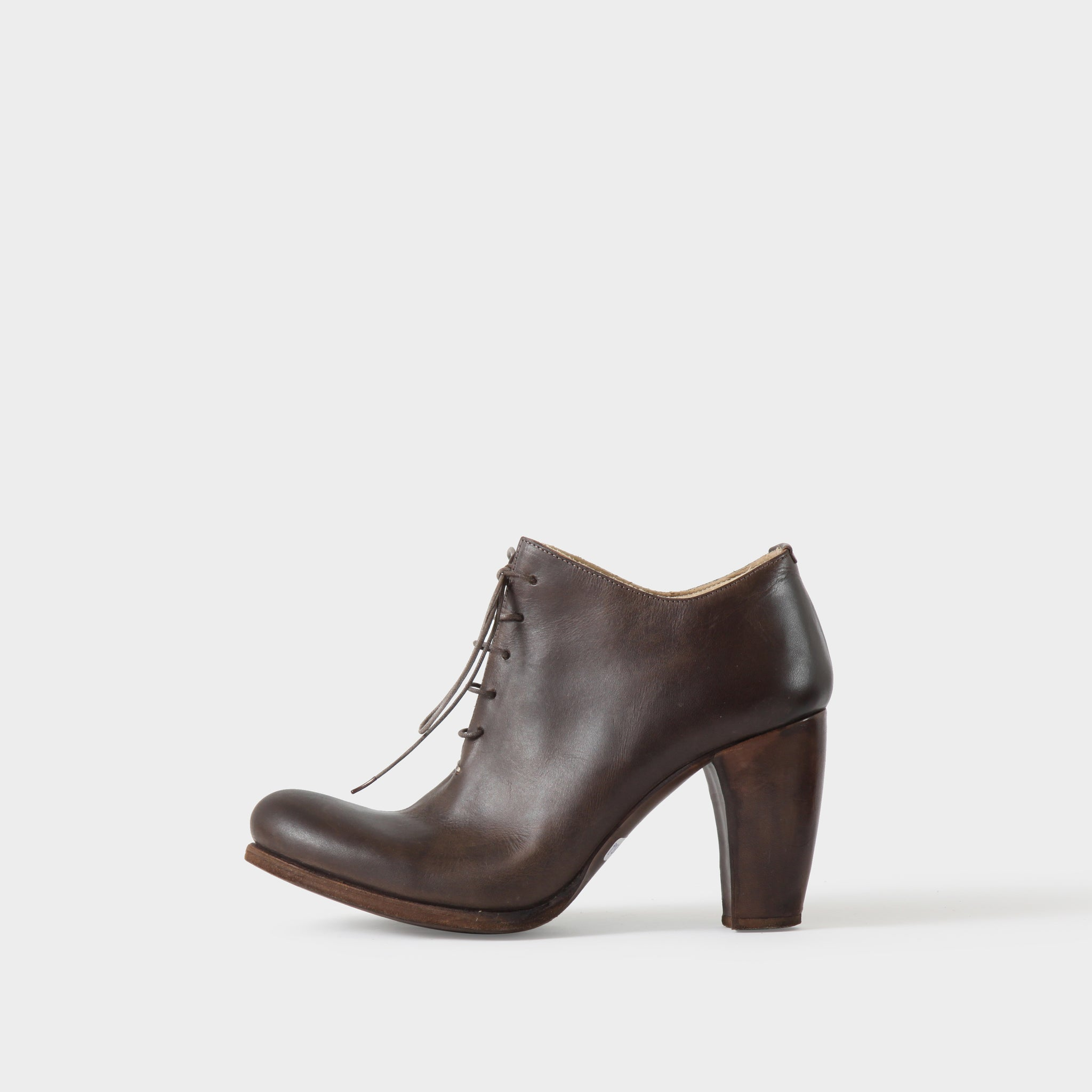 MA+ Brown Laceup Heeled Boots