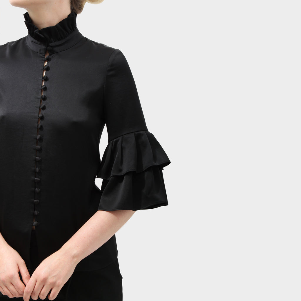 Co black ruffle shirt