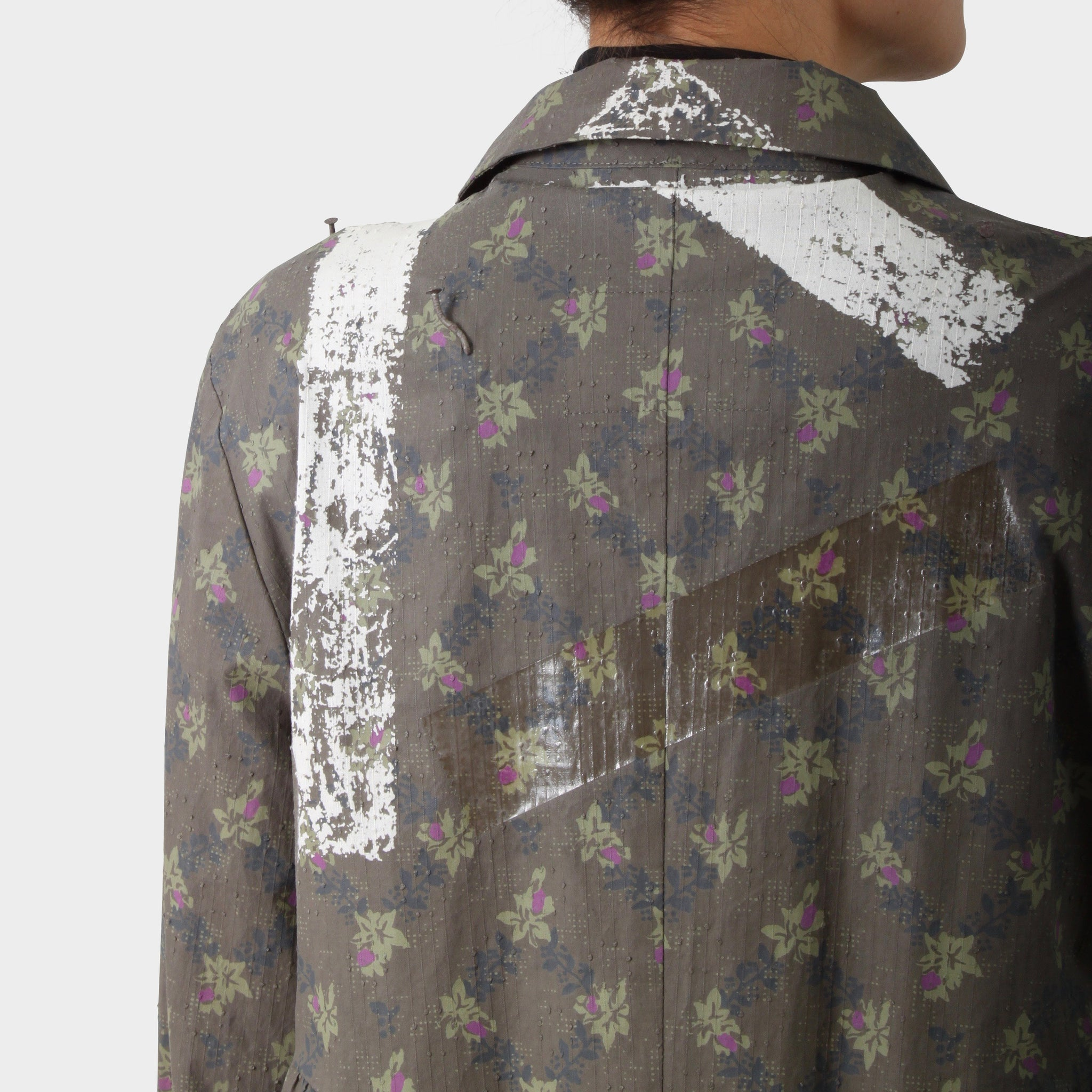Undercover Grey Deconstructed Printed Dress Coat