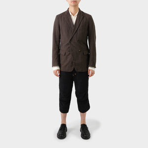 Forme D'Expression Brown Double Breasted Wool Ramie Blazer