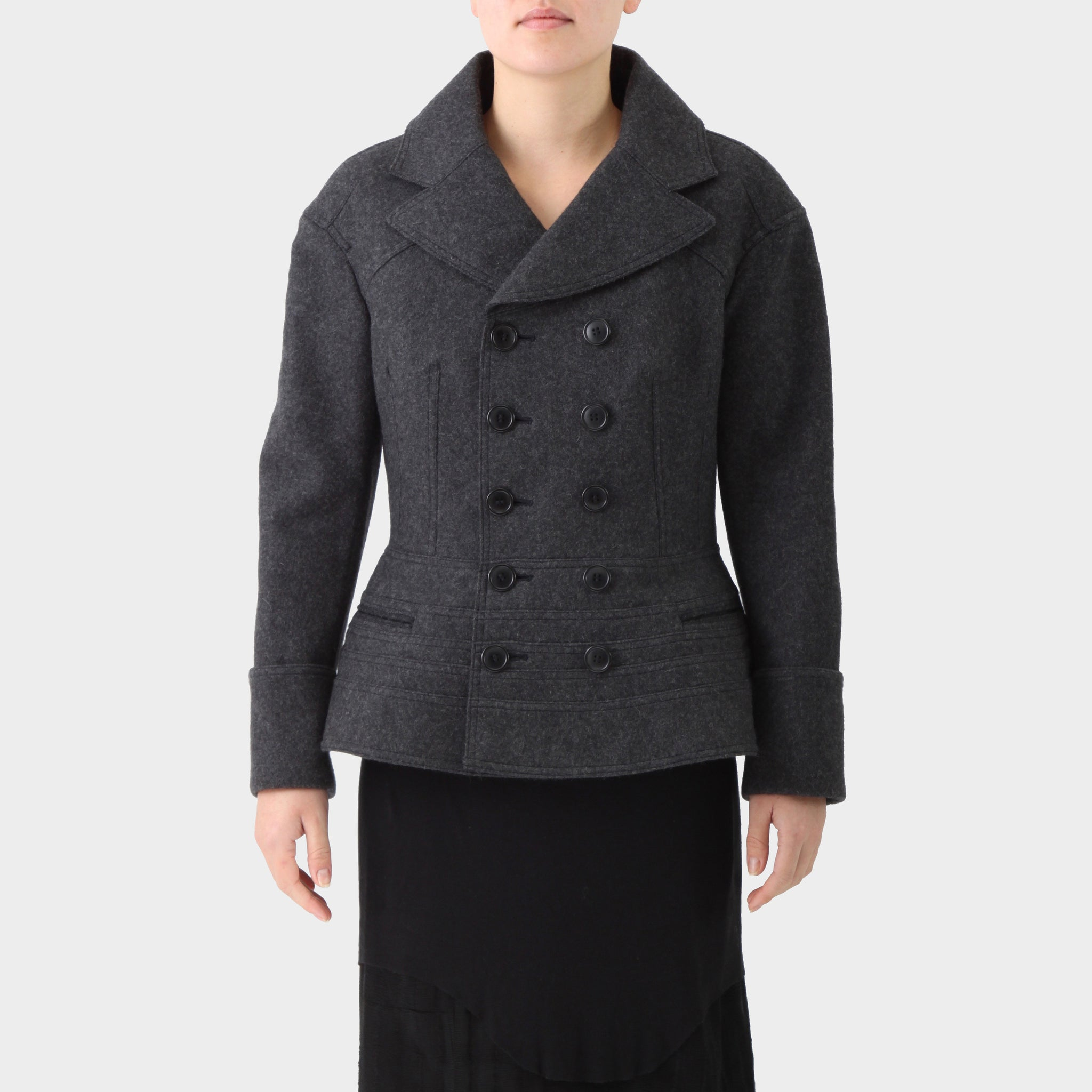 Junya Watanabe Double Breasted Charcoal Felted Wool Coat