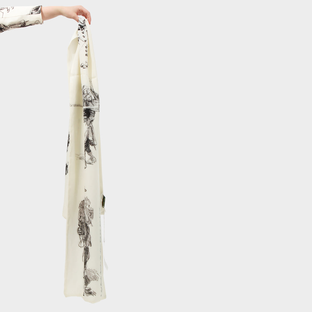 PAUL HARNDEN MILITAIRE SKETCH PRINT SCARF