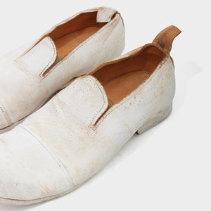 Paul Harnden Cracked white leather slip on shoes